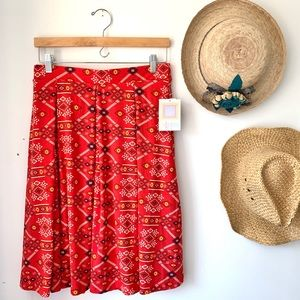NWT LuLaRoe Madison red boho Aztec skirt